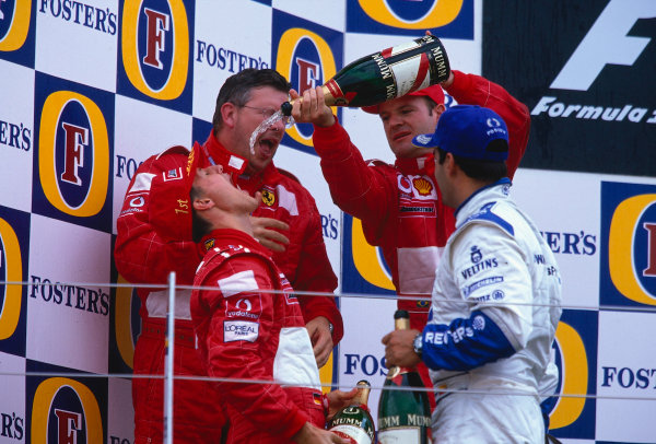 2002 British Grand Prix, Silverstone, England. 7th July 2002. Podium celebrations for Ferrari.World Copyright - LAT Photographic Ref: 35mm Original A10