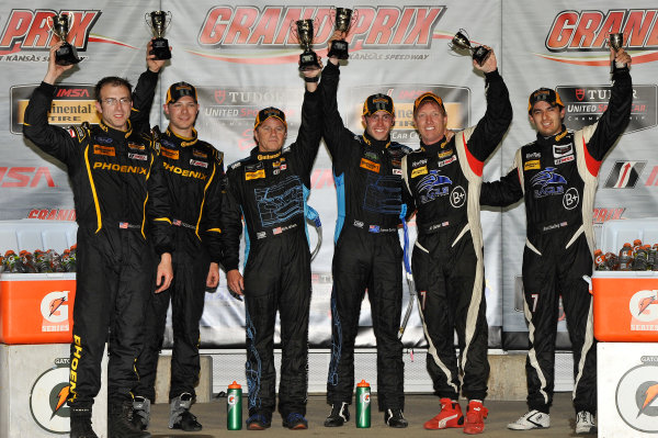6-7 June, 2014, Kansas City, Kansas USA Victory Podium, 7, Porsche, 997, GS, Albert Carter, Brett Sandberg, 07, Aston Martin, Vantage, GS, Max Riddle, Kris Wilson, 32, Mustang, Boss 302 R, GS, Kurt Rezzetano, Andrew Aquilante  ?2014 Scott R LePage  LAT Photo USA