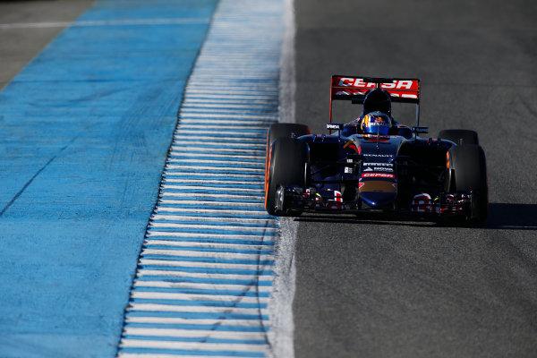 2015 F1 Pre Season Test 1 - Day 1 Circuito de Jerez, Jerez, Spain. Sunday 1 February 2015. Carlos Sainz Jr, Toro Rosso STR10 Renault. World Copyright: Glenn Dunbar/LAT Photographic. ref: Digital Image _W2Q7874