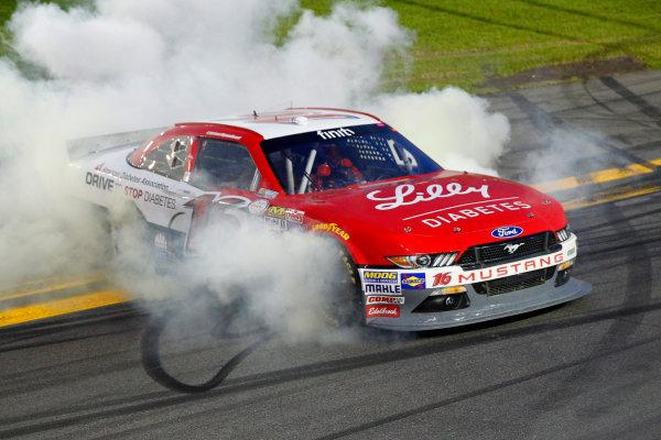 20-21 February, 2015, Daytona Beach, Florida USA Ryan Reed celebrates his win with a burnout ©2015, Russell LaBounty LAT Photo USA
