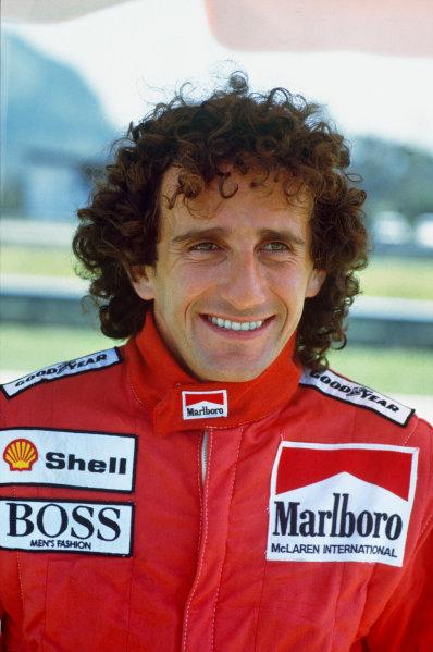 1987 Brazilian Grand Prix. Jacarepagua, Rio de Janeiro, Brazil. 10th - 12th April 1987. Alain Prost (McLaren MP4/3-TAG Porsche), 1st position, portrait.  World Copyright: LAT Photographic.