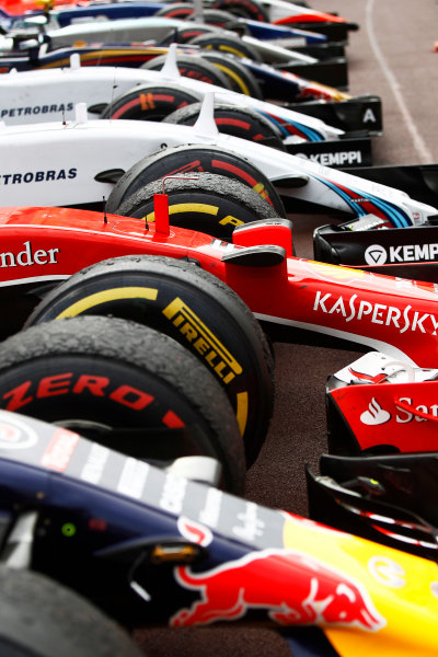 Monte Carlo, Monaco. Sunday 24 May 2015. The cars in Parc Ferme. World Copyright: Sam Bloxham/LAT Photographic. ref: Digital Image _G7C0128