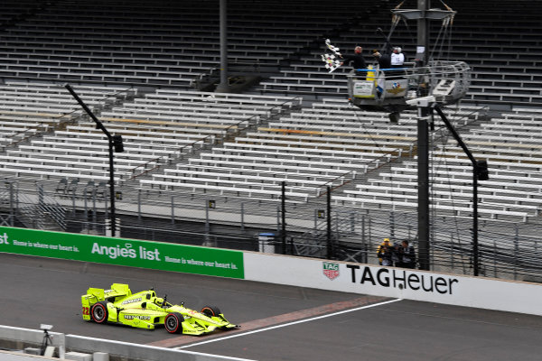 12-14 May, 2016, Indianapolis, Indiana, USA Simon Pagenaud crosses the finish line under the checkered flag for the win ?2016, Scott R LePage  LAT Photo USA