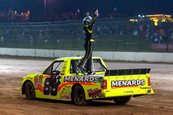 NASCAR Camping World Truck Series Eldora Dirt Derby Eldora Speedway, Rossburg, OH USA Wednesday 19 July 2017 Matt Crafton, Ideal Door / Menards Toyota Tundra celebrates his win  World Copyright: Russell LaBounty LAT Images