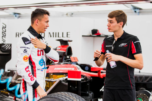 2017 FIA Formula 2 Round 5. Red Bull Ring, Spielberg, Austria. Thursday 6 July 2017. Alexander Albon (THA, ART Grand Prix) and George Russell (GBR, ART Grand Prix). Photo: Zak Mauger/FIA Formula 2. ref: Digital Image _56I0214