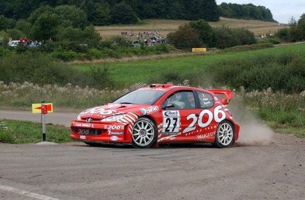 Bruno Thiry (BEL), Peugeot 206 WRC, finished sixth overall.Fia World Rally Championship, Rd10, Rallye Deutschland, Germany, Leg 3, 25 August 2002.DIGITAL IMAGE