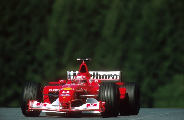 Michael Schumacher (GER) Ferrari F2002 won the race in controversial style.