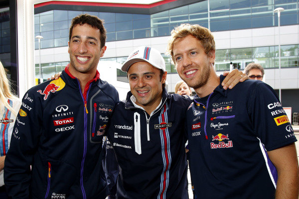 Felipe Massa (BRA) Williams celebrates 200 GP starts with Daniel Ricciardo (AUS) Red Bull Racing, left, and Sebastian Vettel (GER) Red Bull Racing, right. Formula One World Championship, Rd9, British Grand Prix, Qualifying, Silverstone, England, Saturday 5 July 2014.