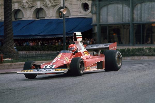 Monte Carlo, Monaco.9-11 May 1975.Niki Lauda (Ferrari 312T) 1st position.Ref-75 MON 01.World Copyright - LAT Photographic