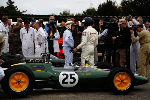 2015 Goodwood Revival Meeting.  Goodwood Estate, West Sussex, England. 11th - 13th September 2015.  Sir Jackie Stewart and Dario Franchitti with a Lotus 25.  Ref: _W5_5802. World copyright: Kevin Wood/LAT Photographic