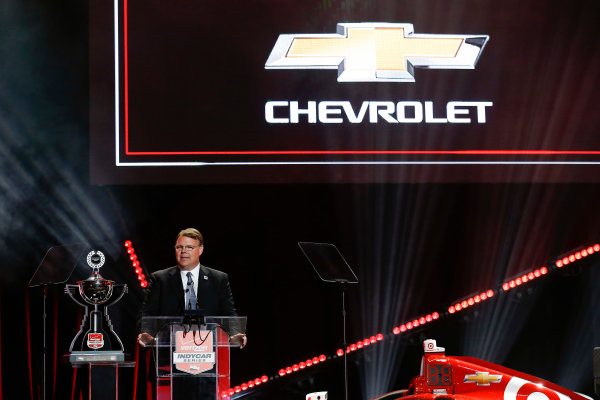 31 August, 2015, San Francisco, California, USA Jim Campbell of Chevrolet is presented with the Manufacturers? Championship award ? 2015, Michael L. Levitt LAT Photo USA