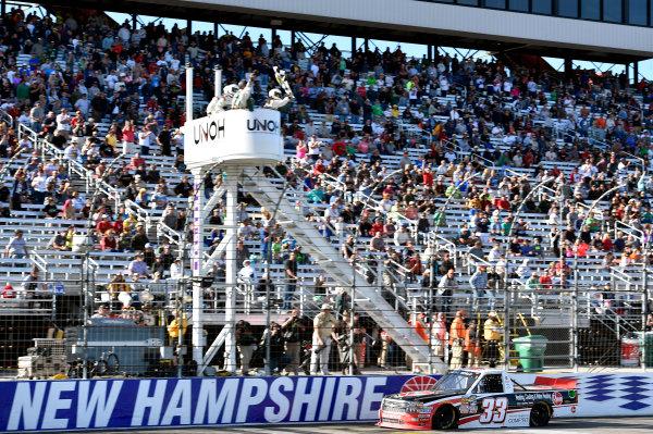 25-26 September, 2015, Loudon, New Hampshire USA Austin Dillon takes the checkered flag and the win ? 2015, Nigel Kinrade LAT Photo USA