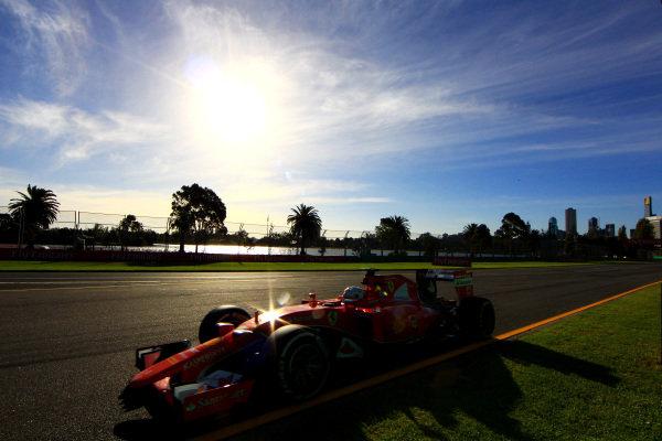 Sebastian Vettel (GER) Ferrari SF15-T at Formula One World Championship, Rd1, Australian Grand Prix, Practice, Albert Park, Melbourne, Australia, Friday 13 March 2015. BEST IMAGE