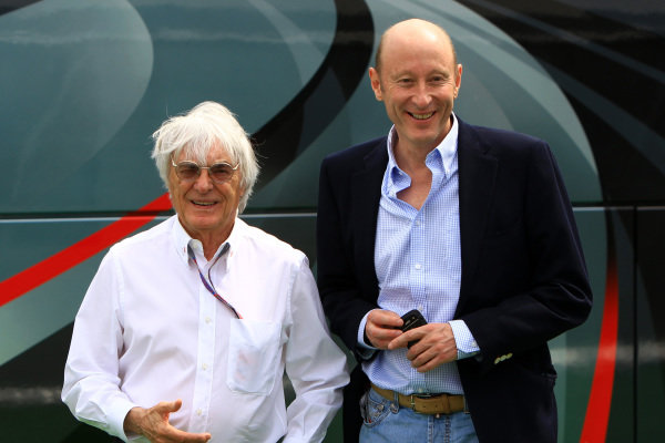 (L to R): Bernie Ecclestone (GBR) CEO Formula One Group (FOM) and Donald Mackenzie (GBR) CVC Capital Partners Managing Partner - Co Head of Global Investments. Formula One World Championship, Rd5, Spanish Grand Prix, Race Day, Barcelona, Spain, Sunday 13 May 2012.