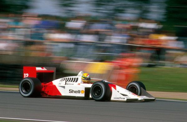 Silverstone, England. 8th - 10th July 1988. Ayrton Senna (McLaren MP4/4 Honda) 1st position, action. World Copyright: LAT Photographic. Ref: 88GB19.