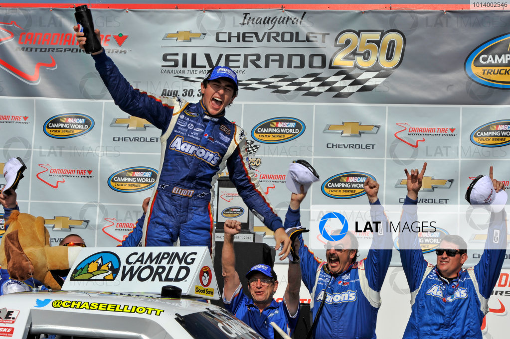 30 August - 1 September 2013, Bowmanville, Ontario Canada Chase Elliott celebrates the win in victory lane with team ©2013, Scott R LePage LAT Photo USA
