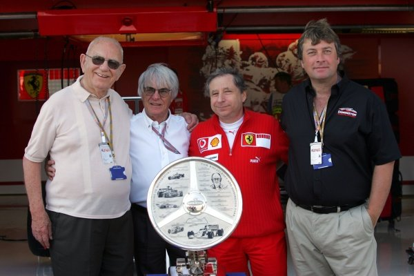 Tom Wheatcroft (GBR) Donington Park owner, Bernie Ecclestone (GBR) F1 Supremo, Jean Todt (FRA) Ferrari General Manager and Kevin Wheatcroft (GBR) of Donington Park at the presentation of The Tom Wheatcroft Trophy.Formula One World Championship, Rd11, British Grand Prix, Race Day, Silverstone, England, 10 July 2005.DIGITAL IMAGE