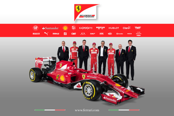 Ferrari SF-15T Reveal 30 January 2015 Esteban Gutierrez, Kimi Raikkonen and Sebastian Vettel with Technical Chief James Allison, Team Principal Maurizio Arrivabene and the new Ferrari SF-15T. Photo: Ferrari (Copyright Free FOR EDITORIAL USE ONLY) ref: Digital Image 150008eve