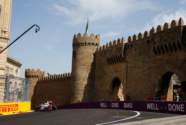 Baku City Circuit, Baku, Azerbaijan. Saturday 18 June 2016. Romain Grosjean, Haas VF-16 Ferrari. World Copyright: Andy Hone/LAT Photographic ref: Digital Image _ONZ1339