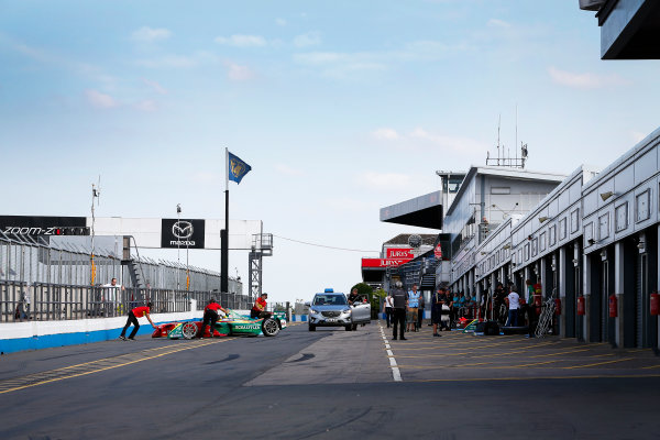FIA Formula E Season 3 Testing - Day Two. Donington Park Racecourse, Derby, United Kingdom. Daniel Abt, ABT Schaeffler Audi Sport, in the pit lane. Wednesday 24 August 2016. Photo: Adam Warner / LAT / FE. ref: Digital Image _L5R0691
