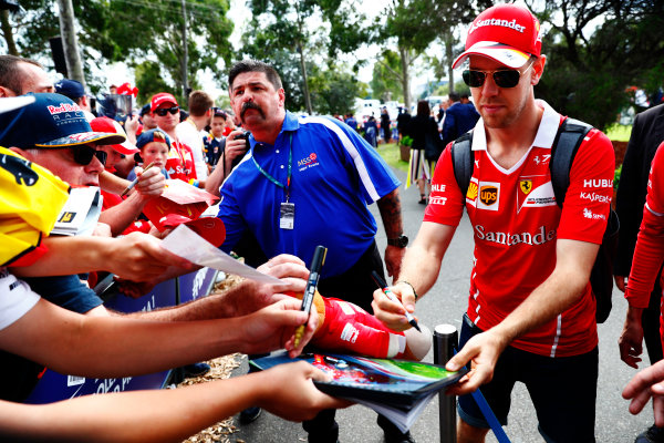 Albert Park, Melbourne, Australia. Sunday 26 March 2017. Sebastian Vettel, Ferrari.  World Copyright: Sam Bloxham/LAT Images ref: Digital Image _W6I3477