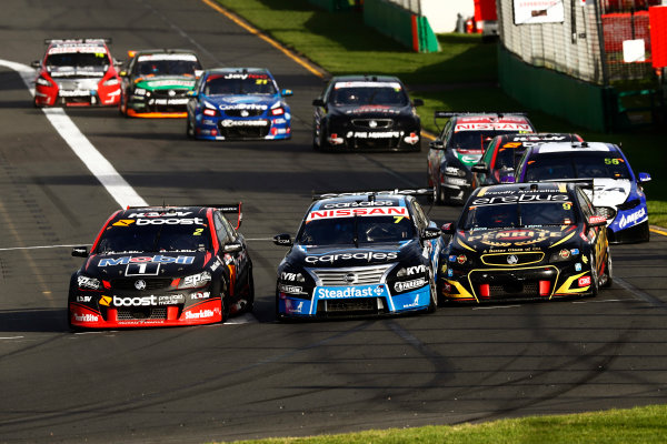 Australian Supercars Series Albert Park, Melbourne, Australia. Friday 24 March 2017. Race 2. Scott Pye, No.2 Holden Commodore VF, Mobil 1 HSV Racing, leads Todd Kelly, No.7 Nissan Altima, Sengled Racing and carsales Racing, David Reynolds, No.9 Holden Commodore VF, Erebus Motorsport, and Jason Bright, No.56 Ford Falcon FG-X, MEGA Racing. World Copyright: Zak Mauger/LAT Images ref: Digital Image _56I5913