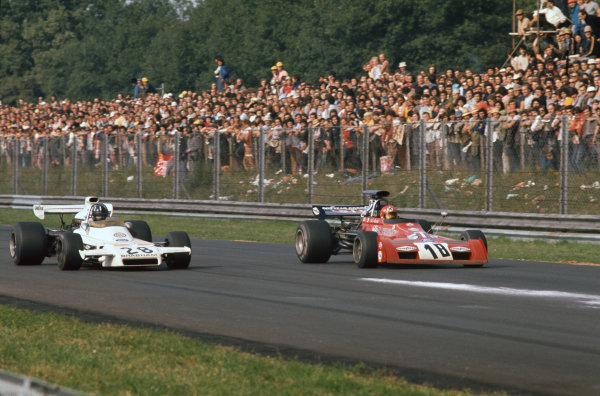 1972 Italian Grand Prix.  Monza, Italy. 8-10th September 1972.  Graham Hill, Brabham BT37 Ford, 5th position, alongside Niki Lauda, March 721G Ford, 13th position, approaching Parabolica.  Ref: 72ITA43. World Copyright: LAT Photographic