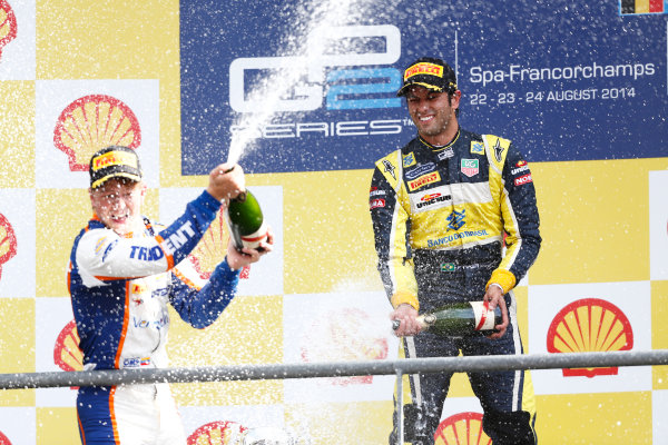 2014 GP2 Series Round 8. Spa-Francorchamps, Spa, Belgium. Sunday 24 August 2014. Johnny Cecotto (VEN, Trident) & Felipe Nasr (BRA, Carlin)  Photo: Sam Bloxham/GP2 Series Media Service. ref: Digital Image _SBL7727
