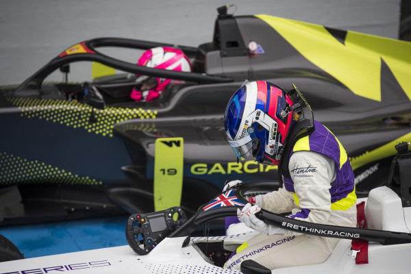 Jamie Chadwick (GBR) climbs from her car in Parc Ferme after winning the race