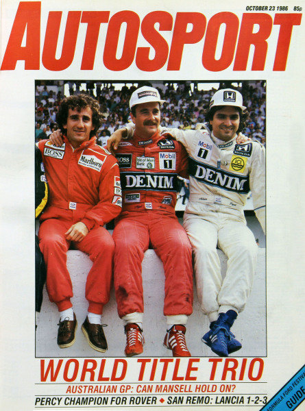 Cover of Autosport magazine, 23rd October 1986