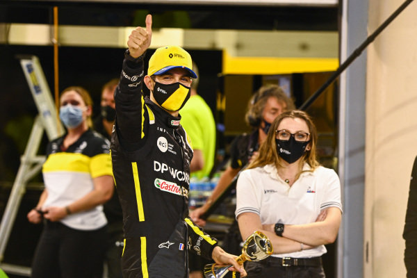 Esteban Ocon, Renault F1, 2nd position, celebrates with his team outside the garage