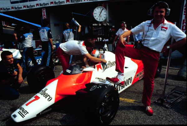 1982 Italian Grand Prix, Monza, Italy.10-12 September 1982.McLaren chief designer John Barnard stands by a McLaren MP4/1B Ford. He was the first to ever design a car in carbon-fibre.World Copyright - LAT Photographic