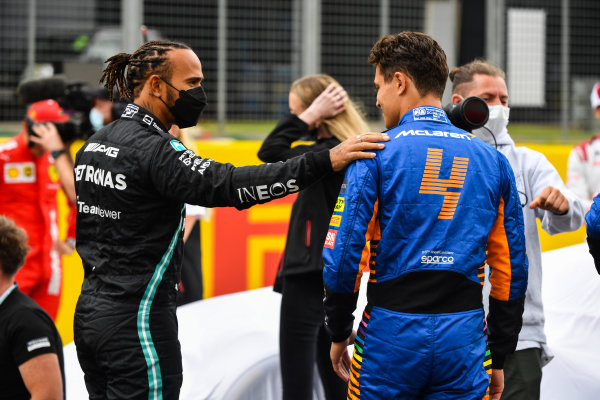 The 2022 Formula 1 car launch event on the Silverstone grid. Sir Lewis Hamilton, Mercedes and Lando Norris, McLaren