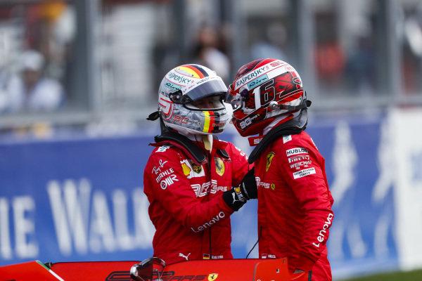 Charles Leclerc, Ferrari, celebrates pole position