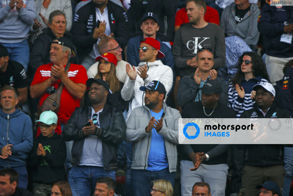 SPA-FRANCORCHAMPS, BELGIUM - SEPTEMBER 01: Fans give a standing ovation in memory of Anthoine Hubert on lap 19 during the Spa-Francorchamps at Spa-Francorchamps on September 01, 2019 in Spa-Francorchamps, Belgium. (Photo by Andy Hone)