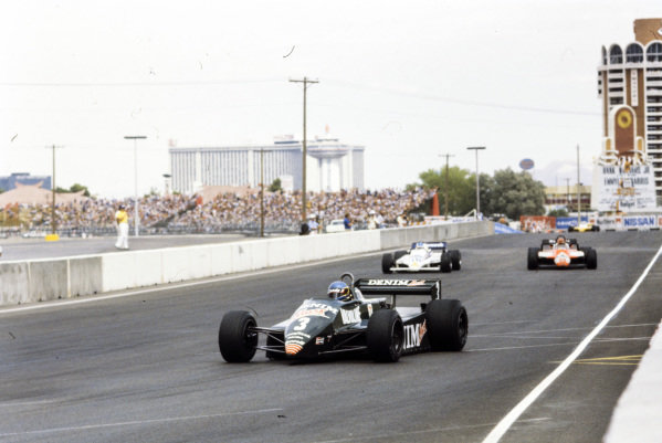 Michele Alboreto, Tyrrell 011 Ford, leads Raul Boesel, March 821 Ford, and Bruno Giacomelli, Alfa Romeo 182.