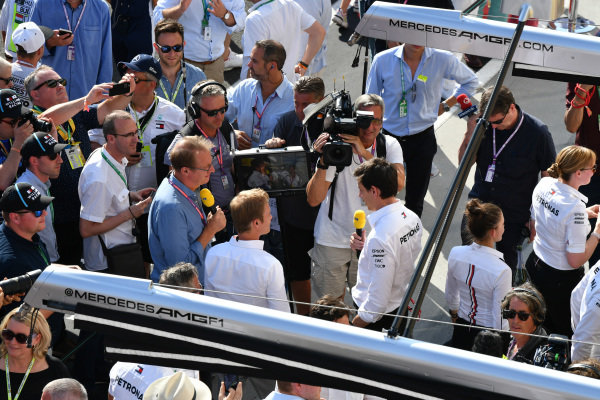 Toto Wolff, Executive Director (Business), Mercedes AMG, is interviewed after the race by Nico Rosberg