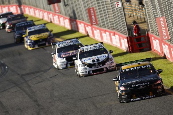 Tim Slade, Brad Jones Racing, Holden, leads James Courtney, Walkinshaw Andretti United, Holden