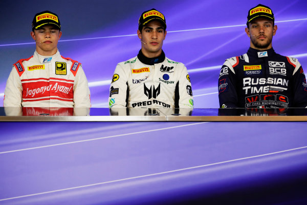 Spa Francorchamps, Belgium.  Sunday 27 August 2017 Sergio Sette Camara (BRA, MP Motorsport). Luca Ghiotto (ITA, RUSSIAN TIME). and Nyck De Vries (NED, Racing Engineering).  Photo: Mauger/FIA Formula 2 ref: Digital Image _56I3533