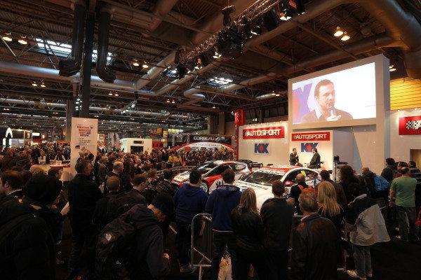 Gary Paffett (GBR) on the main stage. Autosport International Show, NEC, Birmingham, England, Day Three, 11 January 2014.