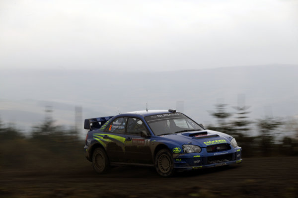 2003 FIA World Rally Champs. Round fourteen Wales Rally GB 6th-9th November 2003.Tommi Makinen, Subaru, Action.World Copyright: McKlein/LAT