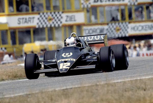 1983 German Grand Prix.Hockenheim, Germany.5-7 August 1983.Nigel Mansell (Lotus 93T Renault) practice only.Ref-83 GER 15.World Copyright - LAT Photographic