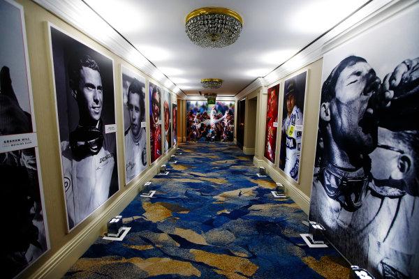 2017 Autosport Awards Grosvenor House Hotel, Park Lane, London. Sunday 3 December 2017. The corridor of champions - and Stirling Moss. World Copyright: Joe Portlock/LAT Images Ref: Digital Image _L5R7557
