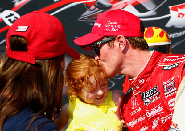 14 July, 2013,  Toronto, Ontario, CAN Scott Dixon is congratulated by wife Emma and daughter Poppy ©2013, Phillip Abbott LAT Photo USA