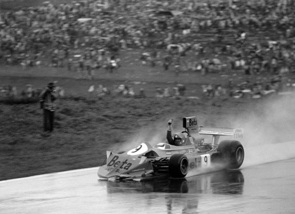 1975 Austrian Grand Prix.Osterreichring, Austria. 17 August 1975.Vittorio Brambilla, March 751-Ford, 1st position, celebrates after crashing after the finish, action.World Copyright: LAT PhotographicRef: 7823/14A