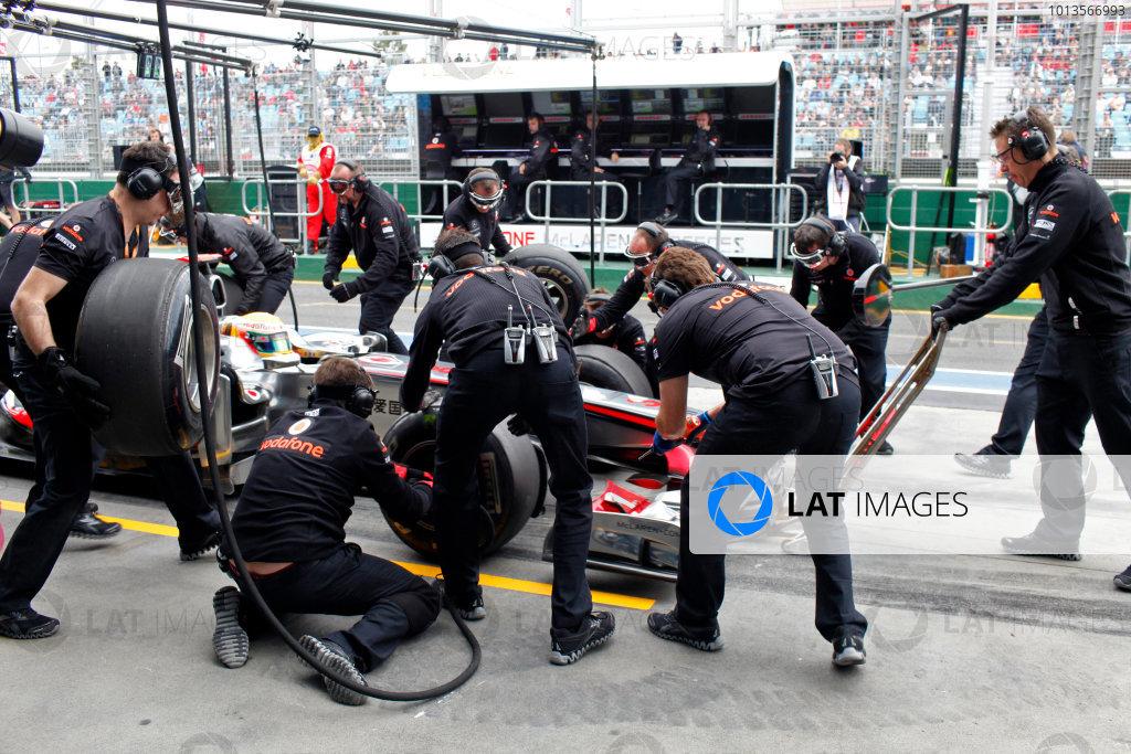 Albert Park, Melbourne, Australia 25th March 2011. Lewis Hamilton, McLaren MP4-26 Mercedes, makes a stop. Action. Pit Stops.  World Copyright: Steven Tee/LAT Photographic ref: Digital Image _MG_9919