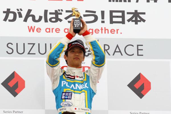 2011 Japanese Formula Three ChampionshipRound 1 - Suzuka, Japan.14th - 15th May 2011.Winner Hideki Yamauchi ( #5 HANASHIMA RACING ), podium.World Copyright: Yasushi Ishihara/LAT Photographicref: Digital Image 2011JF3_R1_004