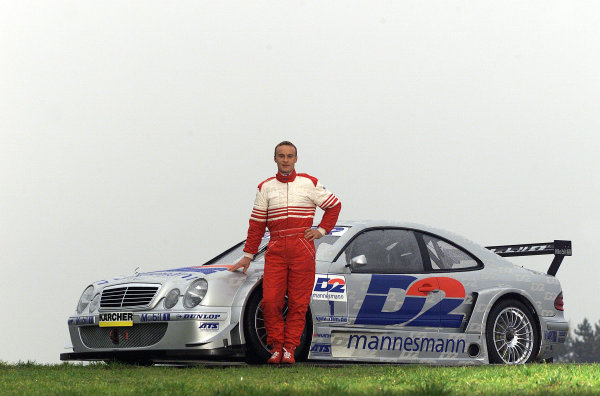 Hockenheim, Germany. 17th  November 2000Motorbike star Ralf Waldmanntests a Mercedes-Benz CLK DTM car. After 20 laps on the short track of the Hockenheimring, Ralf Waldmann was very impressed: ÒSuper, I can handle the car quite well, although the conditions on the track (wet and slippery track), especially at the beginning of the test werenÕt perfect. The CLK is great fun to drive and easy to control. It is definitely a big advantage that you donÕt fall when the wheels lock up. IÕm delighted that Mercedes has kept its promise and has allowed me to try such a car. However, this test should be seen as a unique occasion, and not as a definite indication for the future.
