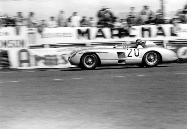 """Le Mans, France. 11-12 June 1955.""""Pierre Levegh""""/John Fitch (Mercedes-Benz 300SLR). After 2 hours of the race """"Levegh"""" crashed into the crowd killing himself and 82 spectators in the worst accident in motor racing history. Ref-Motor 5682G/14.World Copyright - LAT Photographic"""