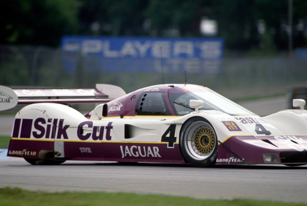 Montreal 480 Kms. Montreal, Quebec, Canada. 23rd September 1990. Rd 8.Davy Jones/Andy Wallace (Jaguar XJR-11), retired, action. World Copyright: Murenbeeld/LAT PhotographicRef: 90MONT07